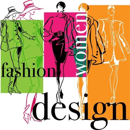 skirt suit: Fashion Woman. Vector illustration Illustration