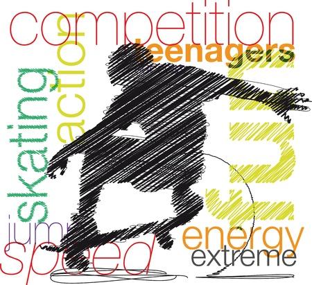 male athlete: Skater. Vector illustration