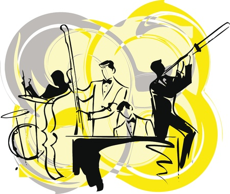 symphony orchestra: Illustration of musicians play classical music.