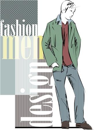 Sketch mode & knappe zakenman Vector Illustratie