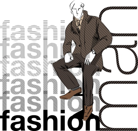 Sketch fashion & handsome business man Vector