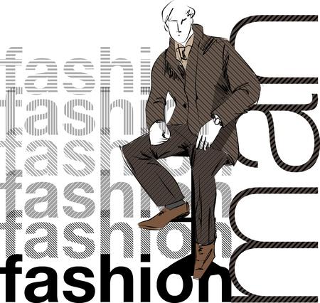 old fashion: Sketch fashion & handsome business man Illustration