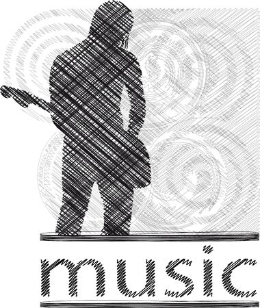 entertainer: Sketch of Man playing electric guitar. Vector Illustration