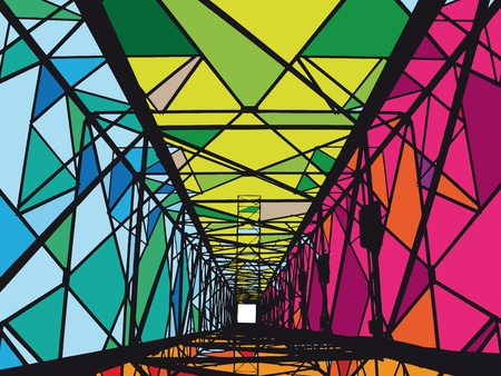 steel bridge: Abstract Electrical tower illustration Illustration