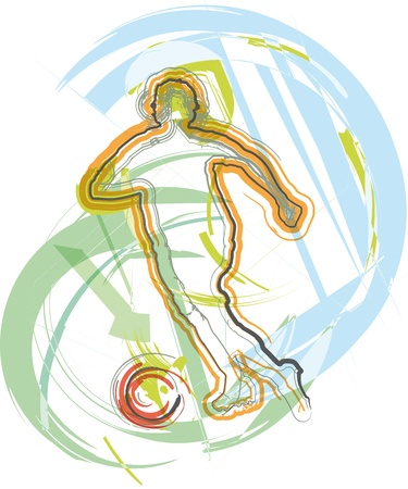 motion: Football player. Vector illustration