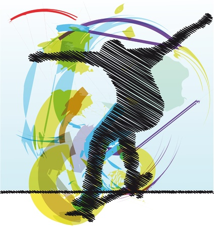 stunt: Abstract sketch of skater Illustration