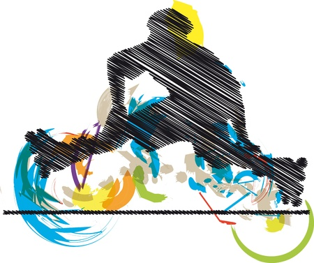 activity exercising: Abstract sketch of skater Illustration