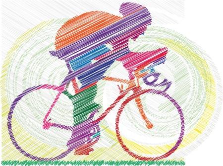 Schets van man op een fiets Vector Illustratie