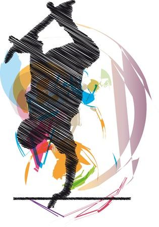 Dibujo abstracto de patinador