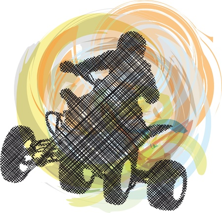 Sketch of Sportsman riding quad bike Stock Vector - 10779146