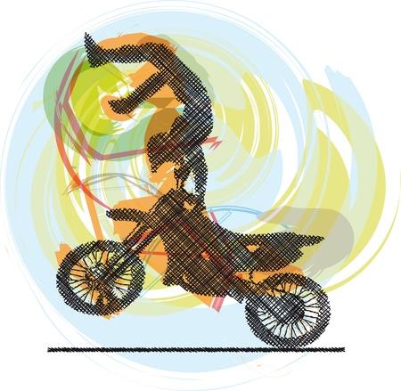 freeride: Dibujo abstracto de moteros