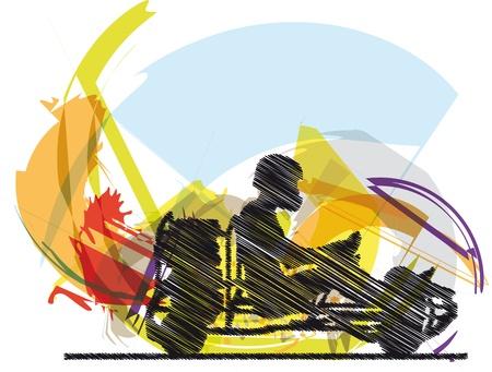 Sketch of kart race Vector