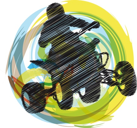 Sketch of Sportsman riding quad bike Stock Vector - 10779112