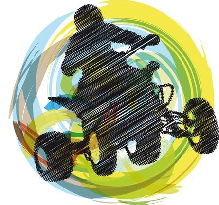 atv: Sketch of Sportsman riding quad bike