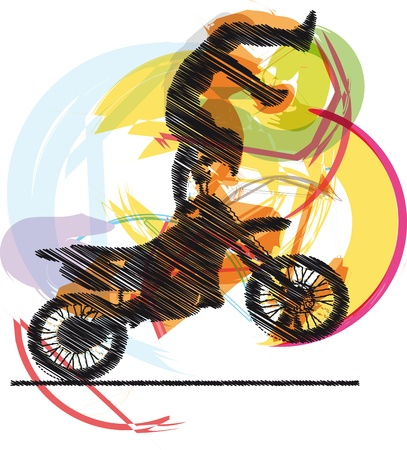 motorbike jumping: Abstract sketch of biker Illustration