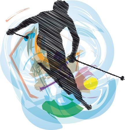 skis: Skiing vector illustration