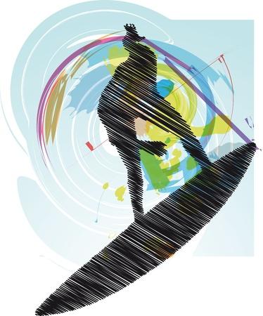 surf silhouettes: Surfer sketch. Illustrazione vettoriale
