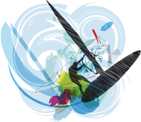 windsurfing illustration. Vector Vector