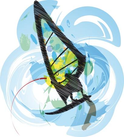 surf silhouettes: windsurf illustrazione. Vettore Vettoriali