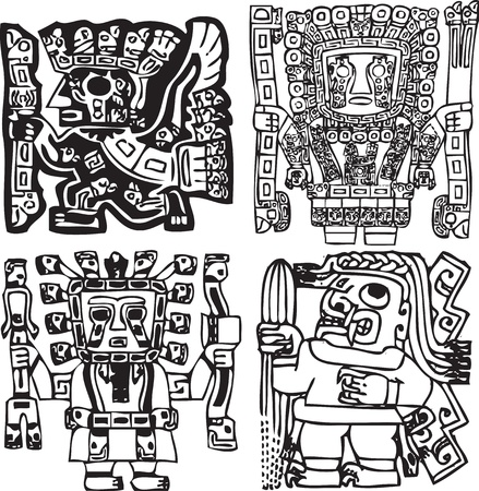 cultura maya: Estadounidense de fondo la cultura. Ilustraci�n vectorial