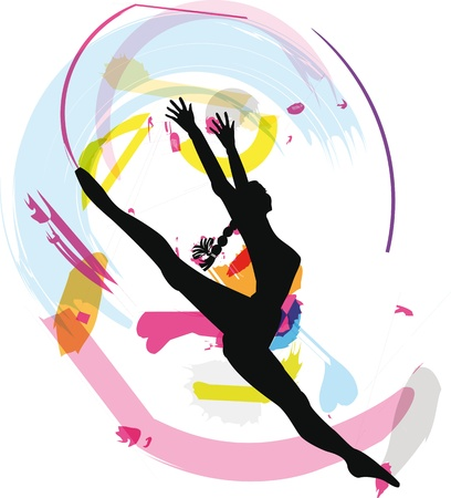 gimnastas: Dancing. Ilustraci�n vectorial