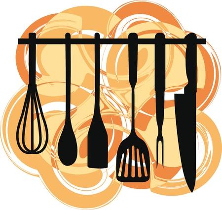 servicio domestico: Rack de utensilios de cocina, ilustraci�n vectorial