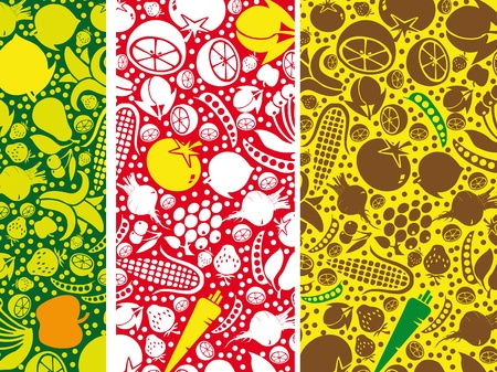 fruits vegetables: Fruits and vegetables pattern. Vector illustration