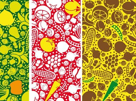 mix fruit: Fruits and vegetables pattern. Vector illustration