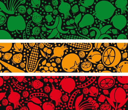 Fruits and vegetables pattern. Vector illustration Stock Vector - 10806897