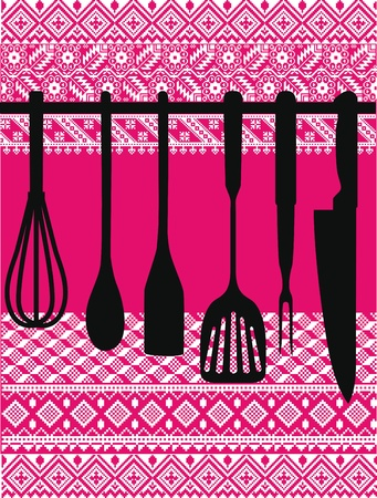 Rack of kitchen utensils, Vector Illustration Ilustração