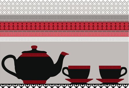 teapot & Cups. Vector illustration Vector