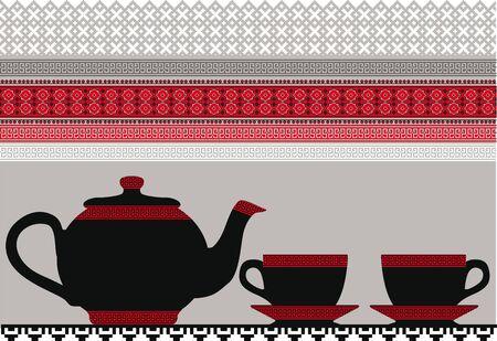 teapot & Cups. Vector illustration Vector