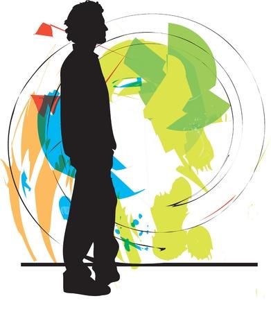 clothed: adolescente illustratore vettoriale Vettoriali
