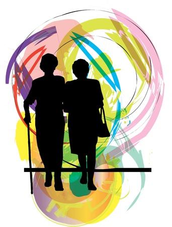 elderly: Mom & daughter illustration