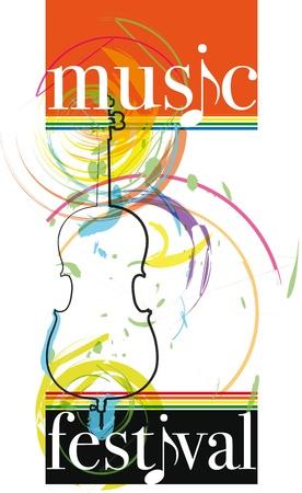cello: festival di musica. Illustrazione vettoriale Vettoriali