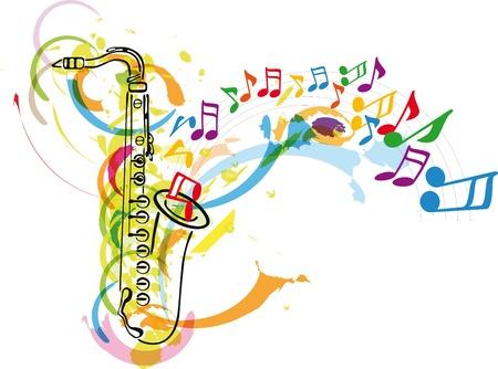 saxof�n: festival de m�sica. Ilustraci�n vectorial