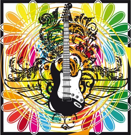 heavy metal music: Chitarra elettrica di design. Vector illustration