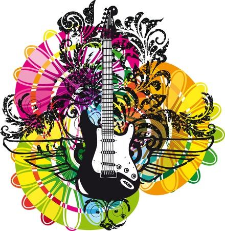 Electric guitar design. Vector illustration Vector