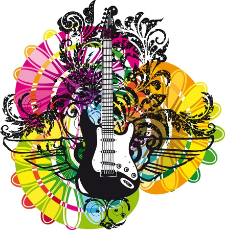 blues: Electric guitar design. Vector illustration Illustration