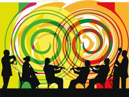 orchester: Illustration von Musikern zu spielen klassische Musik. Vektor