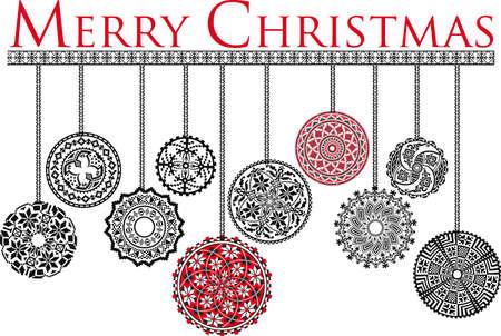 Ancient Christmas balls Vector