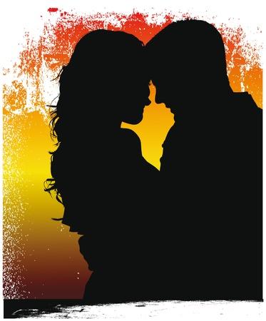 silhouettes lovers: Pareja ilustraci�n