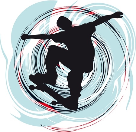 high speed: Abstract sketch of skater Illustration