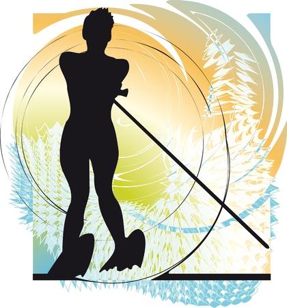 Water skiing woman. vector illustration Stock Vector - 10806947