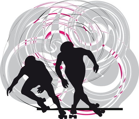 high speed: Skater silhouette vector illustration