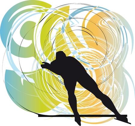 Skater on ice. Vector illustration Vector