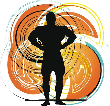 weightlifting: Male body builder vector illustration