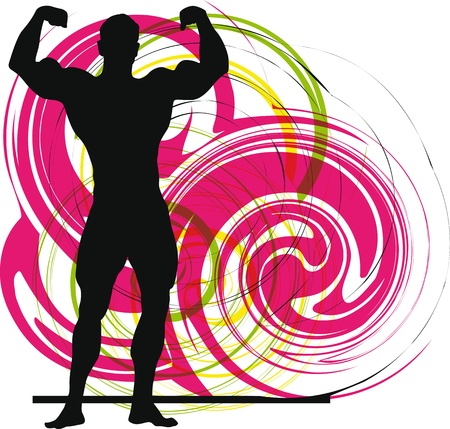 sexy muscular man: Male body builder vector illustration