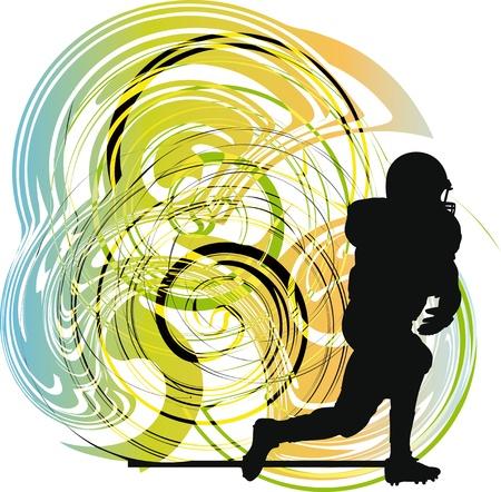 acolchado: Jugador de f�tbol americano en acci�n. Ilustraci�n vectorial Vectores
