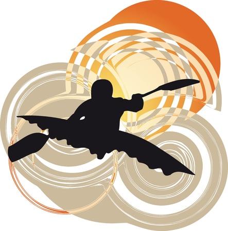 pirag�ismo: Kayak en el r�o. Ilustraci�n vectorial